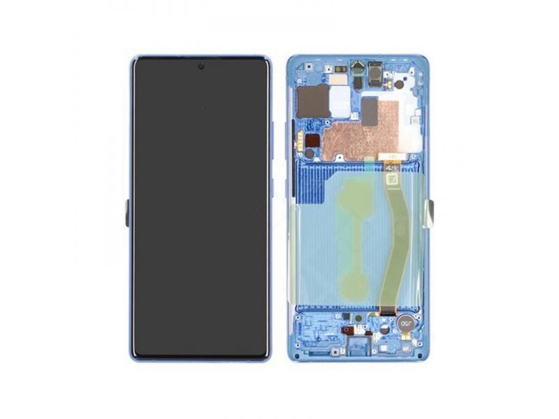 LCD + dotyk + rámeček pro Samsung Galaxy S10 Lite, prism blue (Service Pack)