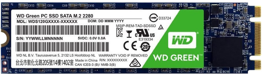 WD GREEN SSD 3D NAND WDS480G2G0B 480GB M.2, (R:540, W:465MB/s)