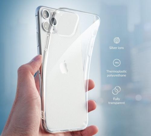 Silikonové pouzdro Forcell AntiBacterial pro Samsung Galaxy A21s, transparentní