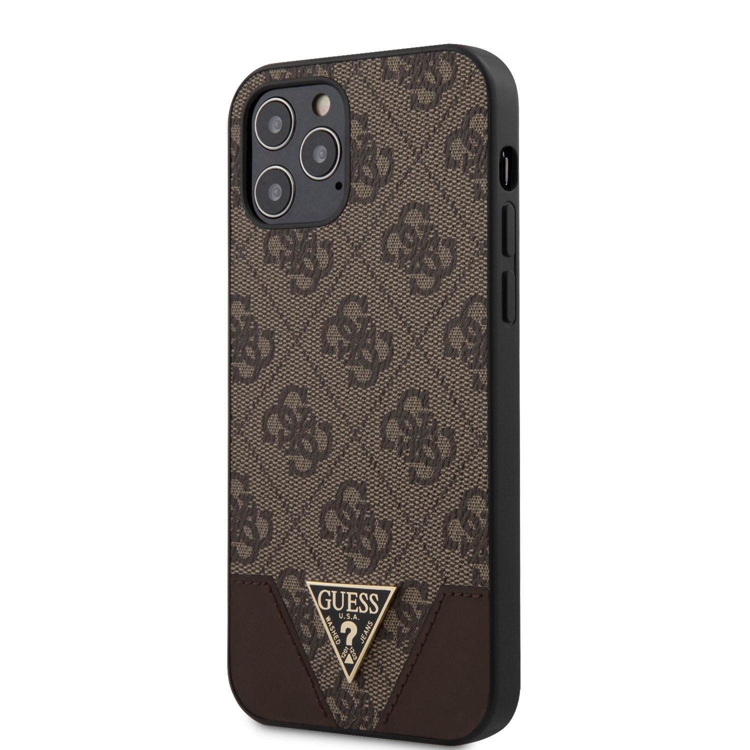Guess 4G Triangle zadní kryt GUHCP12MPU4GHBR Apple iPhone 12/12 Pro brown