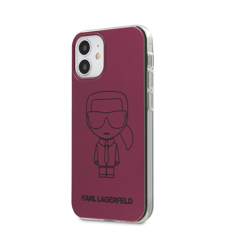 Karl Lagerfeld Metallic Iconic Outline kryt KLHCP12SPCUMIKPI Apple iPhone 12 mini pink