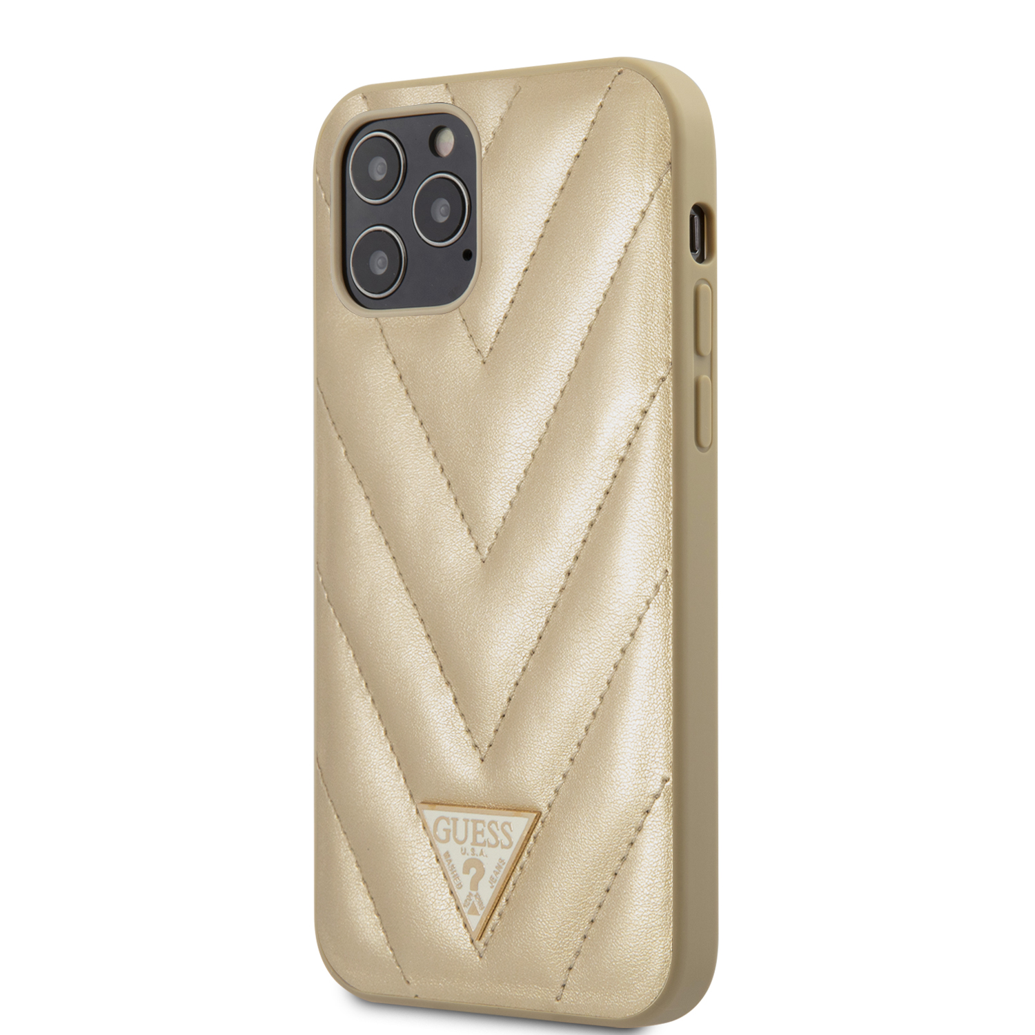 Guess V Quilted zadní kryt GUHCP12LPUVQTMLBE Apple iPhone 12 Pro Max gold