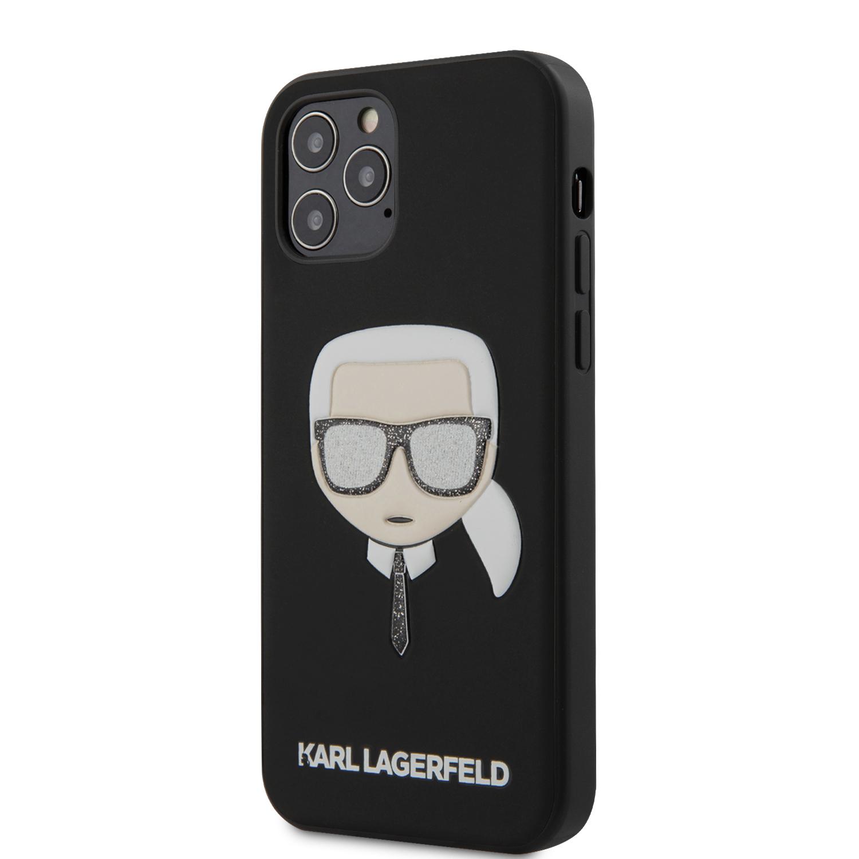 Levně Karl Lagerfeld Glitter Head zadní kryt KLHCP12LGLBK Apple iPhone 12 Pro Max black