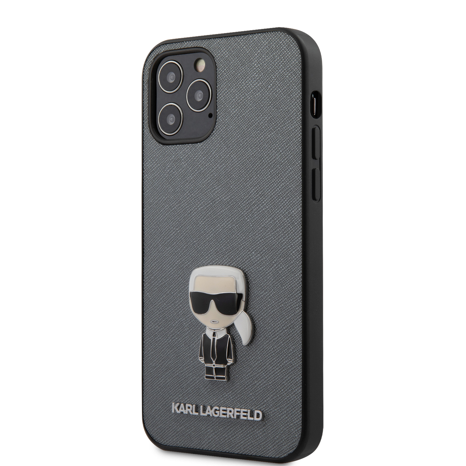 Karl Lagerfeld Saffiano Iconic kryt KLHCP12MIKMSSL Apple iPhone 12/12 Pro silver
