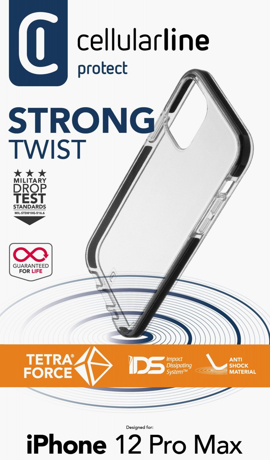 Cellularline Tetra Force Shock-Twist pouzdro Apple iPhone 12 Pro Max transparent