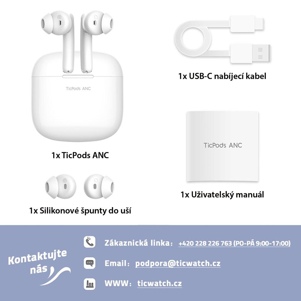 Bezdrátová sluchátka TicPods ANC, bílá
