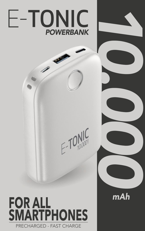 Kompaktní powerbanka E-Tonic 10 000 mAh bílá