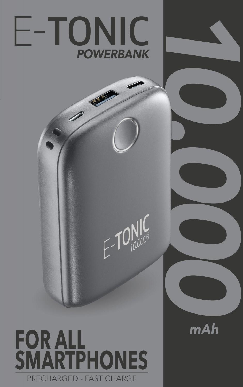 Kompaktní powerbanka E-Tonic 10 000 mAh černá