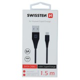 Datový kabel SWISSTEN USB / USB-C SUPER CHARGE 5A 1,5m black