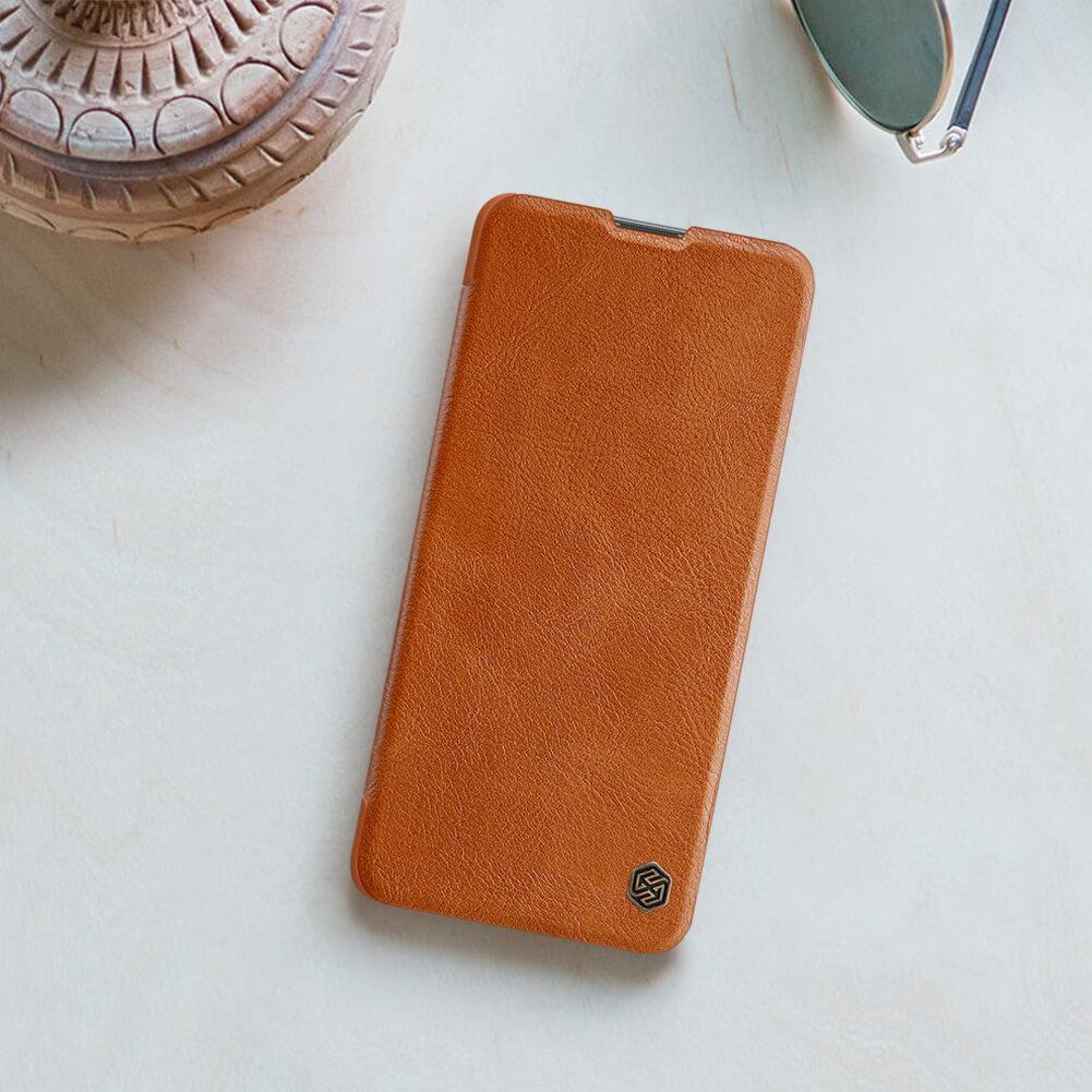 Nillkin Qin flipové pouzdro, obal, kryt pro Samsung Galaxy M51 brown