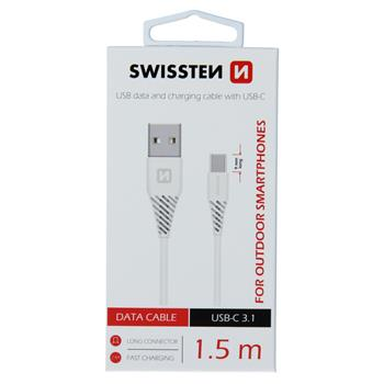 Datový kabel SWISSTEN USB / USB-C 3.1 white 1,5m (9mm)