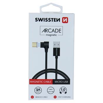 Datový kabel SWISSTEN ARCADE magnetic USB / microUSB 1,2m black