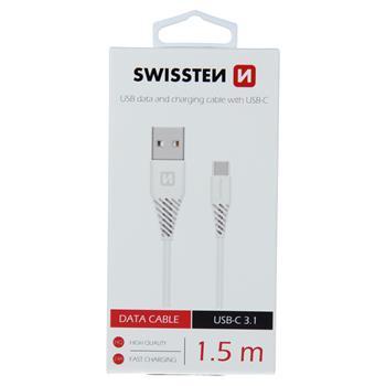 Datový kabel SWISSTEN USB / USB-C 3.1 (7mm) white 1,5m
