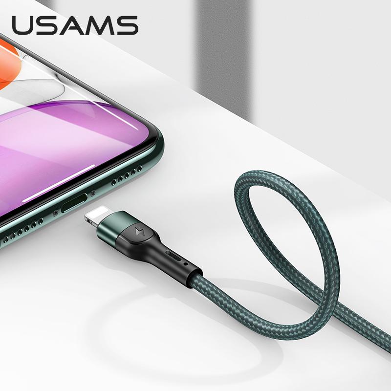 Datový kabel Lightning USAMS US-SJ448 U55 opletený 1m green