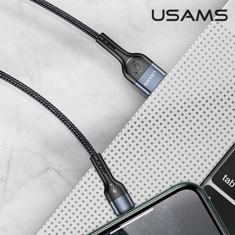 Datový kabel Lightning USAMS US-SJ448 U55 opletený 1m black