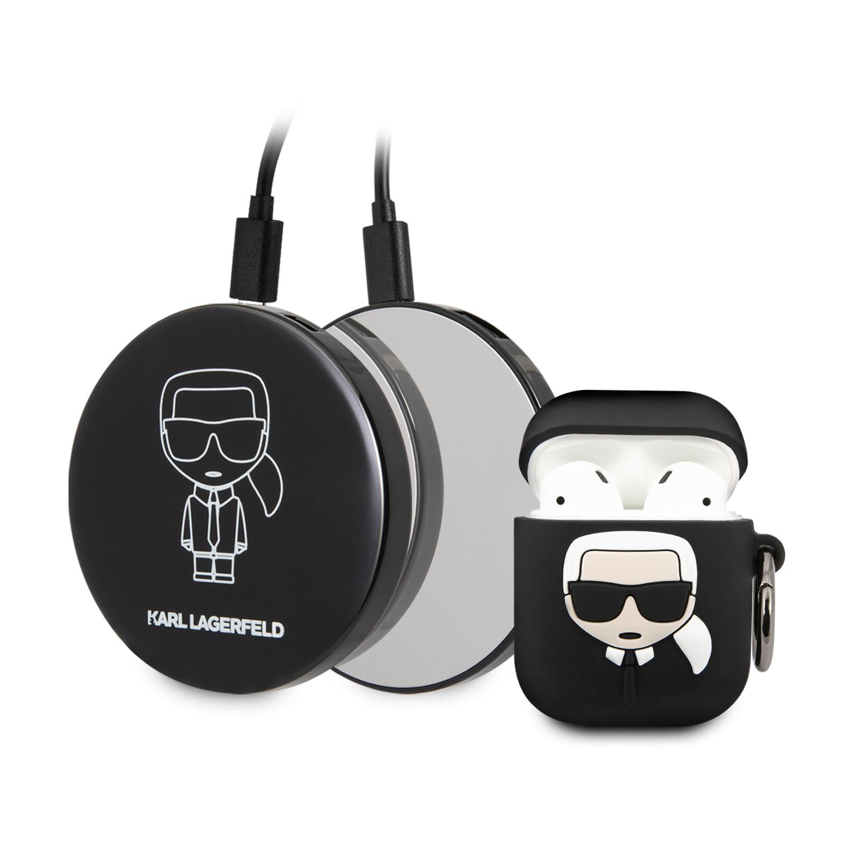 Karl Lagerfeld Bundle Iconic KLBPPBOA2K pouzdro + power bank Apple Airpods 1/2Bundle Iconic Pouzdro pro Airpods 1/2 + Power Bank