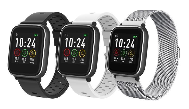 Chytré hodinky iGET FIT F3, stříbrná