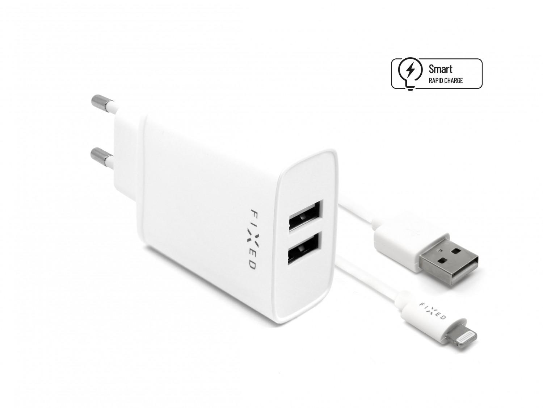 Síťová nabíječka FIXED, 2xUSB a kabel USB/Lightning, 1m, MFI, 15W white