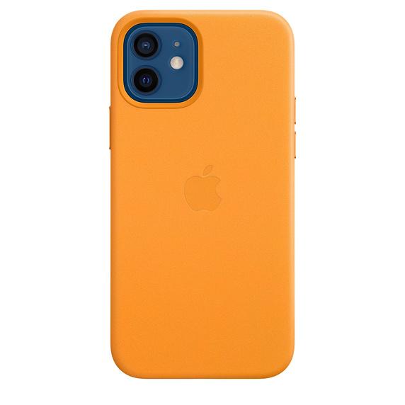 Apple kožený kryt, pouzdro, obal s MagSafe Apple iPhone 12/12 Pro calif poppy