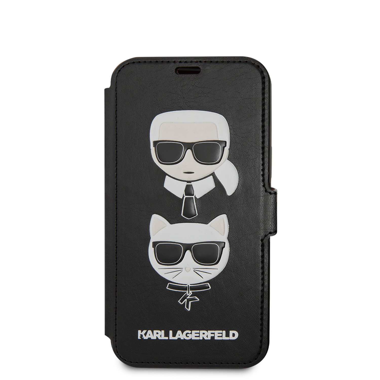 Karl Lagerfeld Heads flipové pouzdro KLFLBKSP12SFKICKC Apple iPhone 12 mini black