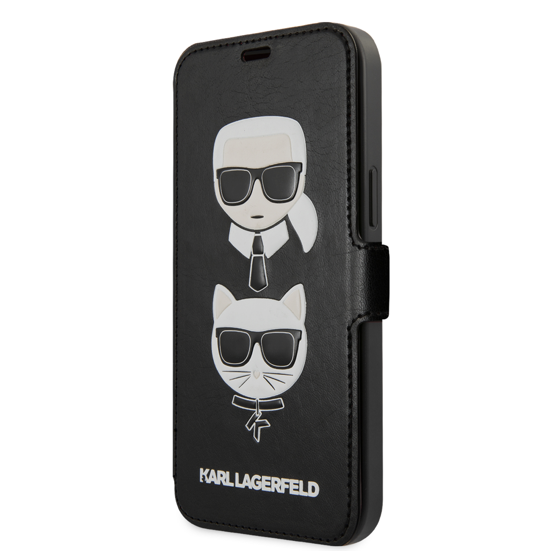 Karl Lagerfeld Heads flipové pouzdro KLFLBKSP12MFKICKC Apple iPhone 12/12 Pro black