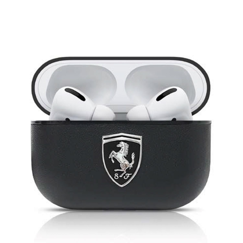 Ferrari Off Track kožené pouzdro FEOAPLEBK Apple Airpods Pro black
