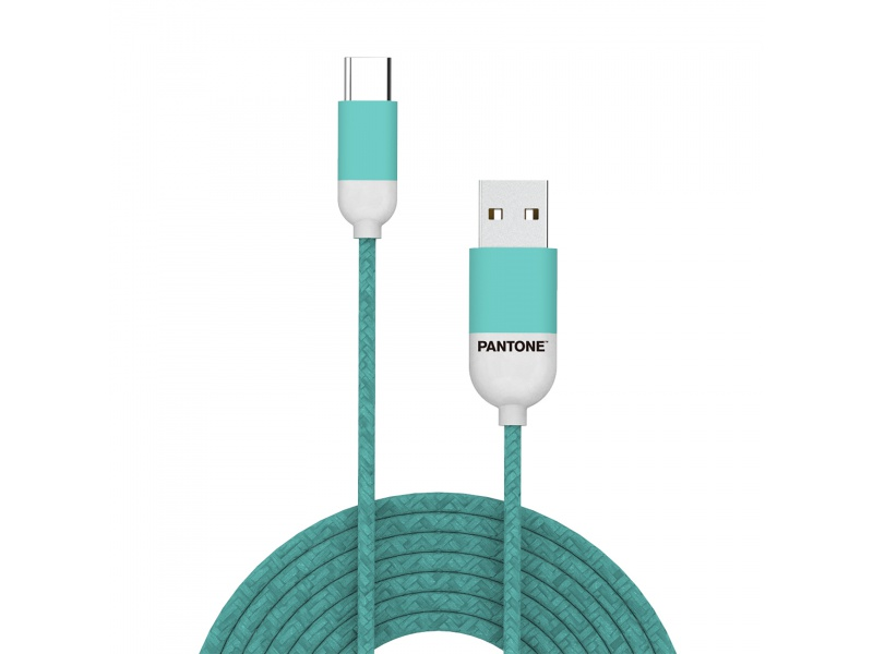Datový kabel Pantone TYPE-C Cable Cyan 1,5m, tyrkysová