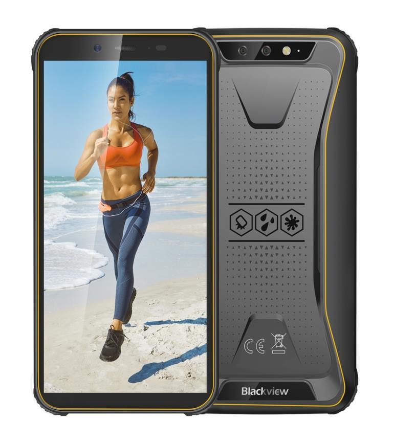 """iGET BLACKVIEW GBV5500 Plus Yellow - Odolný telefon/5,5"""" HD+ IPS/1440x720/Quad-Core/3GB+32GB/4G/LTE/5 MPx+8 MPx/0,3 MPx"""
