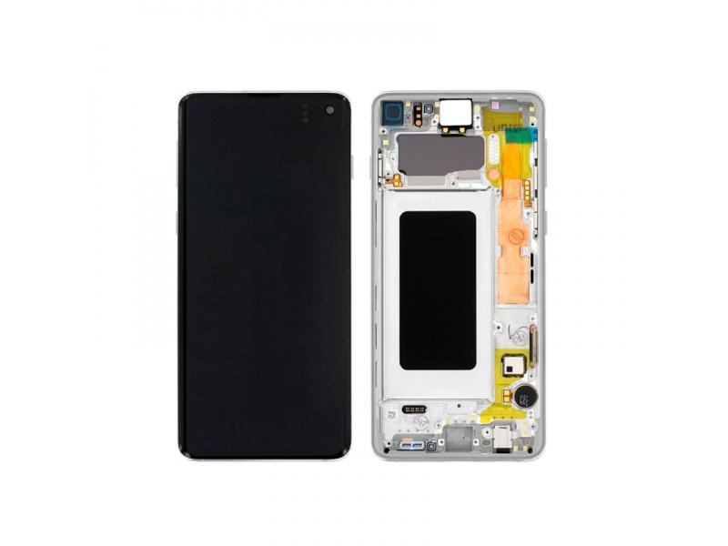 LCD + dotyk + rámeček pro Samsung Galaxy S10, prism white ( Service Pack )