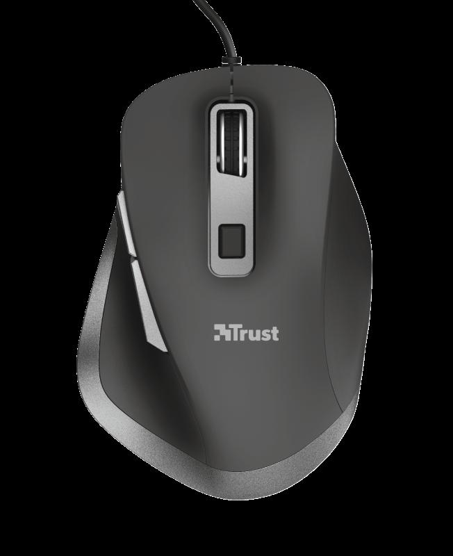 Ergonomická myš Trust Fyda, drátová, černá