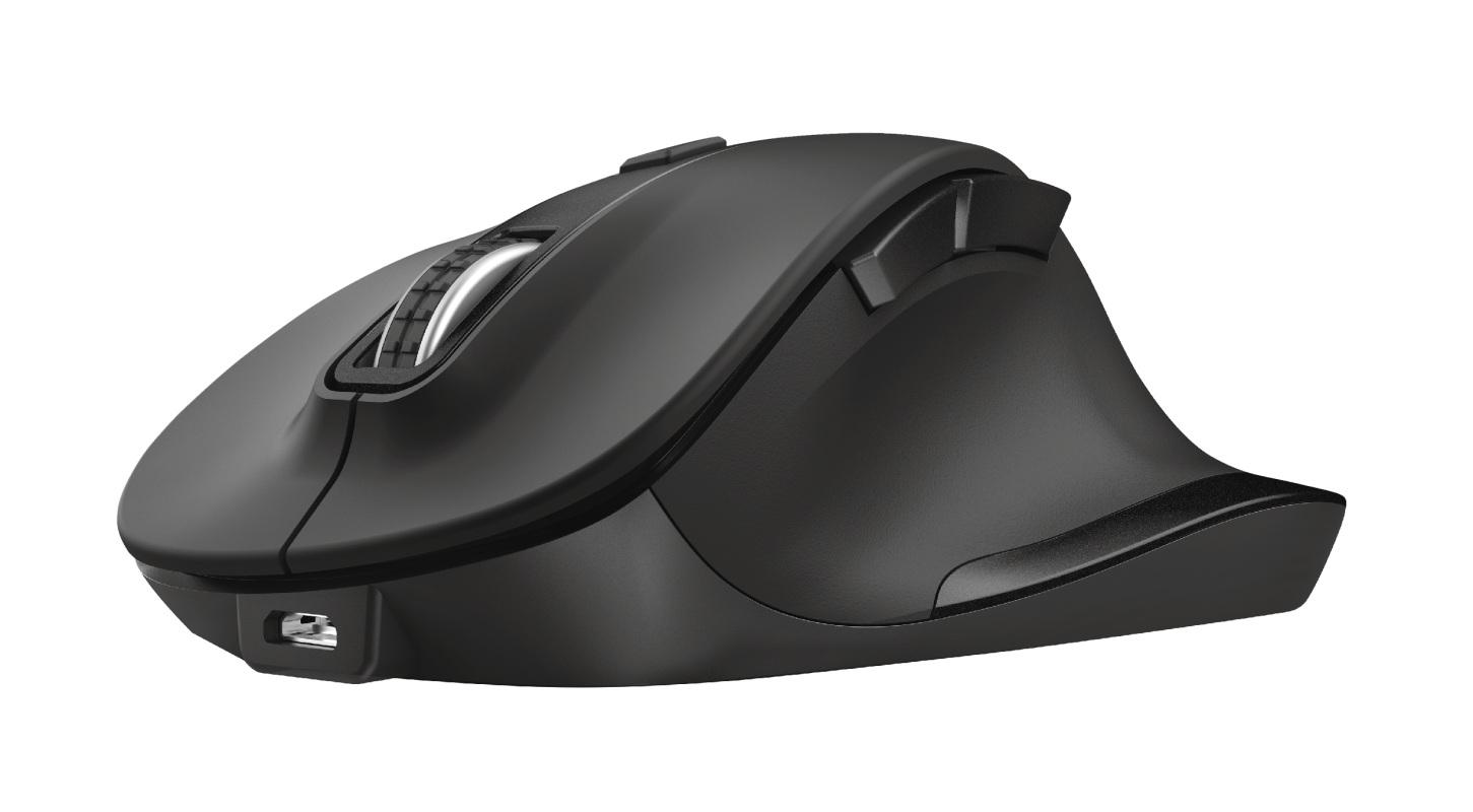 Ergonomická myš Trust Fyda, bezdrátová, černá