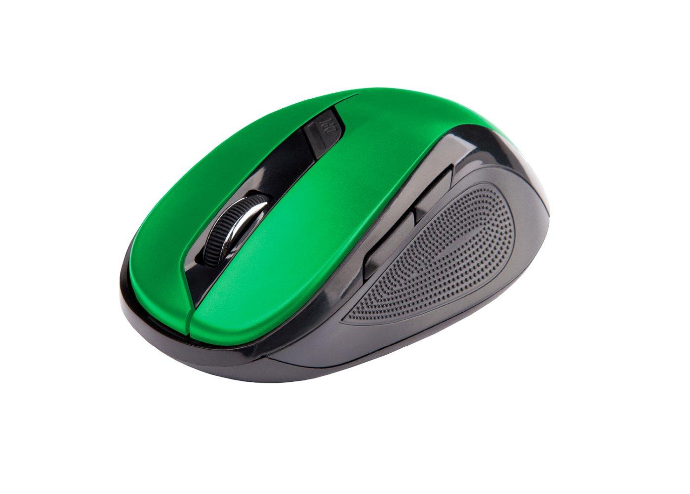 Ergonomická myš C-TECH WLM-02, bezdrátová, 6tlač., černá/zelená