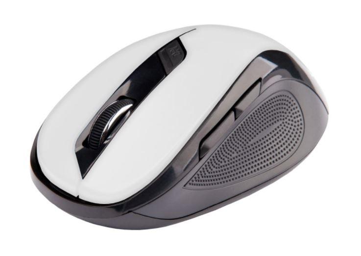 Ergonomická myš C-TECH WLM-02, bezdrátová, 6tlač., černá/bílá