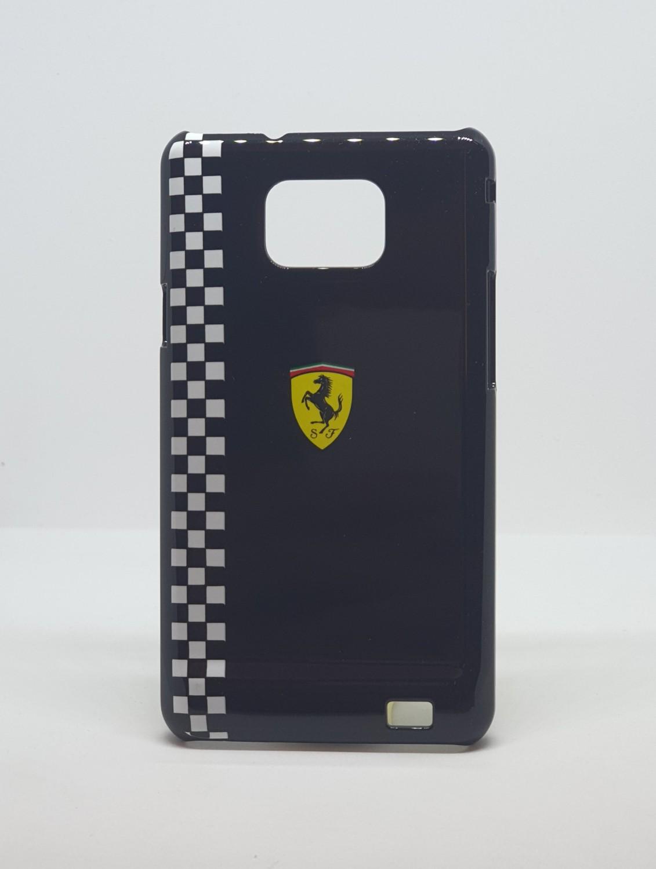 Zadní kryt Ferrari pro Samsung Galaxy SII, black šachovnice