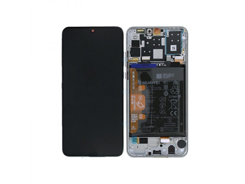 LCD + dotyk + rámeček + baterie pro Huawei P30 Lite New Edition 2020, pearl white ( Service Pack )