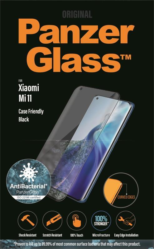Antibakteriální ochranné sklo displeje PanzerGlass Premium pro Xiaomi Mi 11, černá